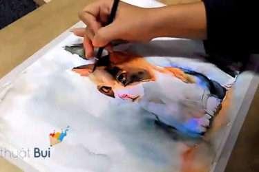 [VIDEO] Vẽ mèo bằng màu nước