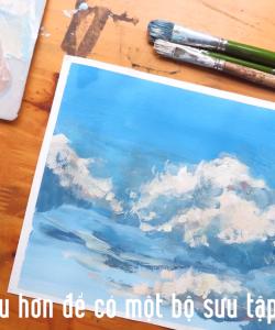 [Video] Học vẽ Phong cảnh - Hướng dẫn vẽ Mây bằng màu Gouache